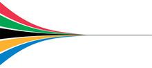 5色のカラフルでダイナミンクなデザインの線のグラフィック