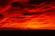 A Dramatic Blood Red Cloudy Sky Over The Suburbs Of Melbourne, Australia