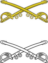 Military Cavalry Emblem With Swords