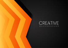 Carbon Fiber Background And Texture. Orange And Black Shapes Abstract Geometric Background.