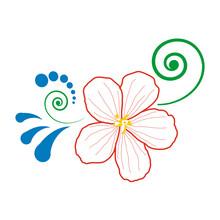 Single Red Flower, Green Curls, Blue Drops, Full Color Composition. Hand-drawn Vector. Fashion Flower Arrangement For Decoration. Design Element For Wedding, Pattern, Illustration, Print, Internet.