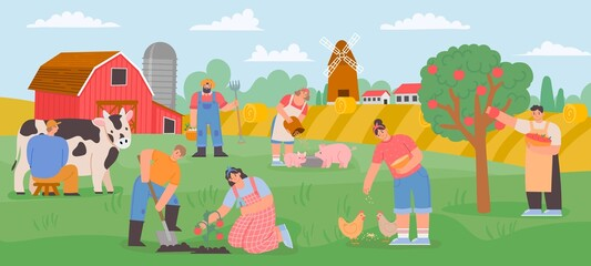 Farming landscape with workers. Countryside farmer community feed animals, milk cow and grow vegetables and fruits. Flat farm vector concept