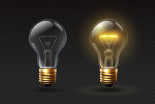 Realistic Light Bulb. On And Off Glass Electric Lightbulbs With Filament. 3d Lamp With Glow Effect. Creative Or Business Idea Vector Concept