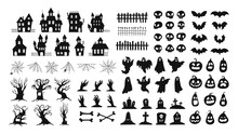 Halloween Silhouettes. Spooky Decorations Zombie Hands, Scary Tree, Ghosts, Haunted House, Pumpkin Faces And Graveyard Tombstones Vector Set