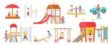 Children At Playground Equipment. Boys And Girls Playing In Play House. Kids On Swings, Slide, Carousel And Sandbox. Kindergarten Vector Set