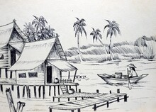 Line Drawing Of Villages Along The River In Rural Thailand