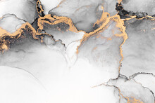 Black Gold Abstract Background Of Marble Liquid Ink Art Painting On Paper . Image Of Original Artwork Watercolor Alcohol Ink Paint On High Quality Paper Texture .