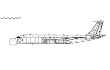 EB-707 Condor. M-2075 Phalcon. Vector Drawing Of Airborne Early Warning And Control Aircraft. Side View. Image For Illustration And Infographics.