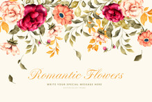 Lovely Background With Romantic Flowers Design Vector Illustration