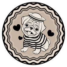 Cute Pug Puppy In A Sailor Suit Sits On A Background Of Hearts.