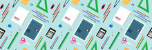 School  Pattern. Education Background. Back To School  Seamless Pattern. School Supplies, Objects, Compasses, Colored Crayons, Erasers, Scissors, Paper Clips, Sharpeners, Ruler, Glue, Notebook