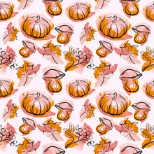 Seamless Autumn Pattern With Pumpkins, Leaves, Rowan, Mushrooms. One Line And Watercolor Stains Of Orange, Crimson Shades