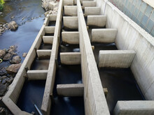 Fish Ladder Structure To Let Fishes Go Up The River Through The Dam. Long Exposure