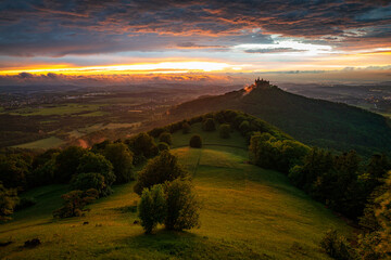 Vertical shot of Val d'Orcia at sunset in Italy