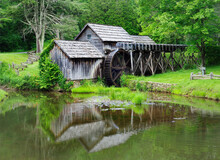 Mabry Mill And It's Reflection In Pond Off The Blue Ridge Parkway, Virginia