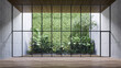 Leinwandbild Motiv Empty room with large window to see wooden courtyard and green tropical tree wall background 3d render illustration