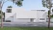 Leinwandbild Motiv Minimal style house exterior with empty concrete courtyard 3d render illustration