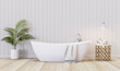 Leinwandbild Motiv Vintage style white bathroom with empty plank wall 3d render,There are wooden floor decorate with golden stool and small yellow palm.