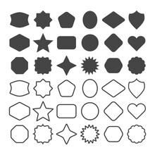 Black Line And Silhouette Empty Geometrical Basic Shapes Emblems Icons Set On White Background