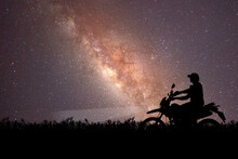 Silhouette Of Tourists Adventuring With Motorcycles, Dirt Bikes Or Motocross In The Evenings. . Travel And Adventure Concept