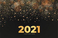 New Year 2021 Card With Golden Effect Background Design Vector Illustration