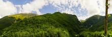 Gran Sasso Mountains Panoramic View On A Cloudy Trekking Day, Abruzzo, Italy