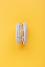 French Macarons On A White Background