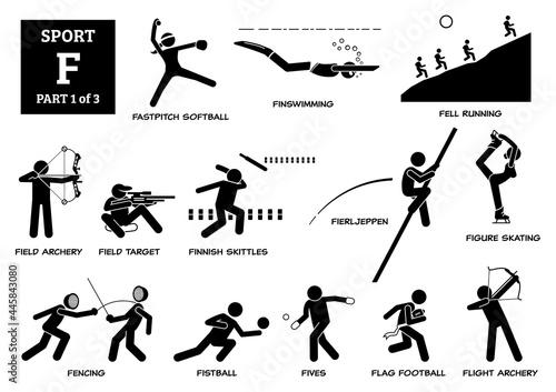 Canvas Print Sport games alphabet F vector icons pictogram