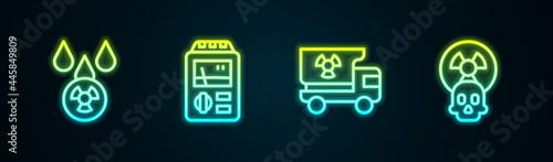 Cuadros en Lienzo Set line Acid rain and radioactive cloud, Dosimeter, Truck with radiation materials and Radioactive