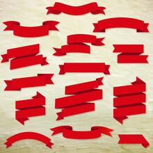 Red Web Ribbons Set