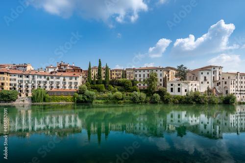 Fototapeta Brenta River and Bassano del Grappa city in Italy