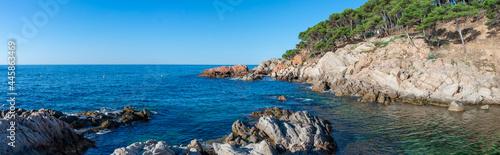 Canvastavla Cala Estreta beach in Palamos, Costa Brava, Girona province, Catalonia, Spain