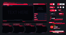 Live Stream. Digital Frame Technology UI,UX Futuristic HUD Virtual Interface. A Design Template For A Set Of Frames, Buttons, Overlay Cursors For Game Streaming. Futuristic Info Boxes Layout Templates