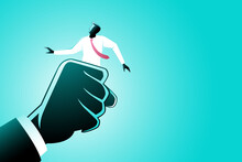 Vector Illustration Of Business Concept, A Man Grasped By Giant Hand