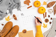 Flat Lay With Calendar For November With Woman Fashion Fall Accessories. Social Media Blog, Schedule, Planning, Thanksgiving Concept. Flatlay, Top View