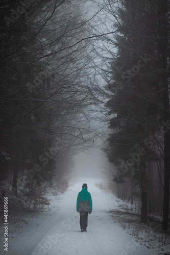 young girl in a green winter jacket walks in the ugly, foggy and cold weather in Beskydy moutains in Europe. Feelings of confinement, loneliness and emptiness