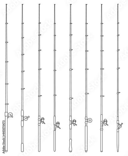 Fotografie, Obraz Fishing rod vector outline set icon