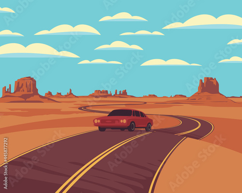 Tableau sur Toile Vector landscape with a highway and a single passing car in the desert with rocks and clouds in the blue sky