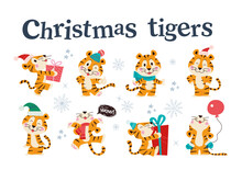 Set Of Cute Little Tigers With Gift Boxes, Balloon In Winter Hat, Scarf And Gloves Isolated. Vector Flat Cartoon Illustration. For Children Holiday Cards, Patterns, Prints, Calendar, Banner Etc.