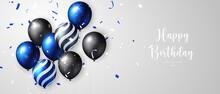 Vivid Blue Black Strip Star Dot Pattern Ballon And Ribbon Happy Birthday Celebration Card Banner Template Background