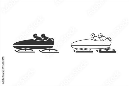 Billede på lærred Bobsleigh icon set. Vector illustration on white