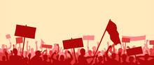 A Crowd Of People With Raised Hands And Flags. Political Revolution. Protest Against Injustice. LGBT Protest. Panoramic Landscape With People. Stock Vector Illustration. EPS 10.