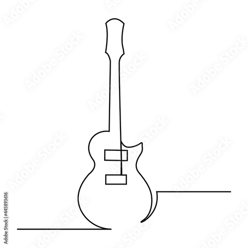 Obraz na plátně Continuous one line drawing of electric guitar music instrument vector symbol fo