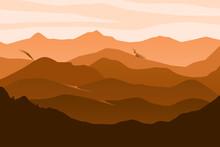 Desert Style Mountain Layers Landscape Vector. Mountains Landscape Gradient Brown Vector.