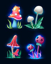 Collection Vector Cartoon Style Magic Fantasy Mushrooms Glowing Dark Isolated White