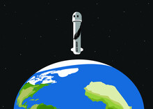 Tourist Space Travel, Rocket And Capsule. First Tourist Flight. Earth's Atmosphere. New Shepard. Vector Illustration