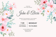 Wedding Invitation Card With Pink Floral Watercolor