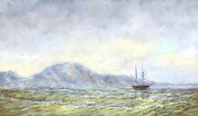 Digital Paintings Sea Landscape, Fine Art, Old Ship On The Sea