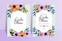 Colorful Flowers Wedding Invitations Template