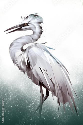 Fototapeta premium painted colored wading bird heron side view